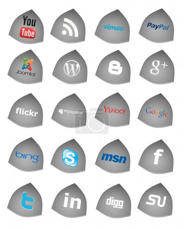 Photo for Collection of 20 most popular social media and network buttons, isolated on white background. - Royalty Free Image