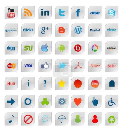 Photo pour Collection de 49 plus populaires social media, réseau et web badges, isolé sur fond blanc. - image libre de droit