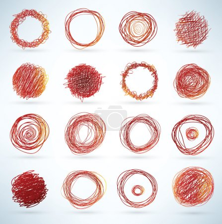 Illustration for Doodled spherical elements for designs - Royalty Free Image