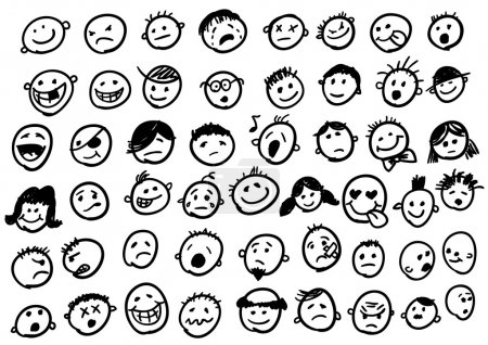 Cute doodled faces