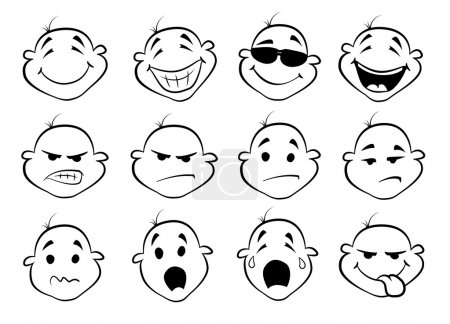 Illustration for Collection of cute cartoon faces - Royalty Free Image