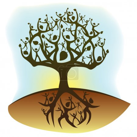 Illustration for Illustration of a tree created from humanoid shapes - Royalty Free Image
