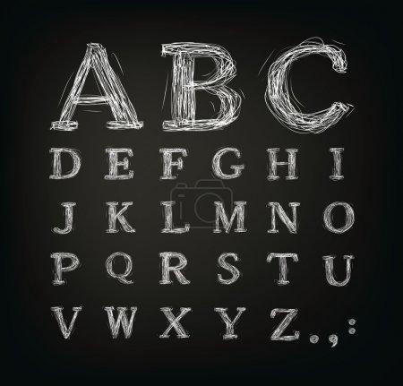 Scribbled alphabet