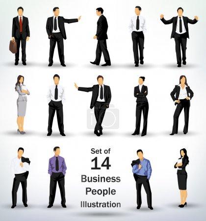 Illustration pour Collecte d'affaires dans différentes poses - image libre de droit