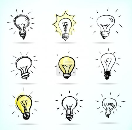 Illustration for Set of Hand-drawn light bulbs, symbol of ideas - Royalty Free Image
