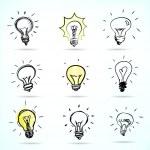 Set of Hand-drawn light bulbs, symbol of ideas...