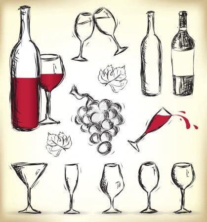 Illustration pour Collection de verres dessinés à la main, bouteilles de vin et raisins - image libre de droit