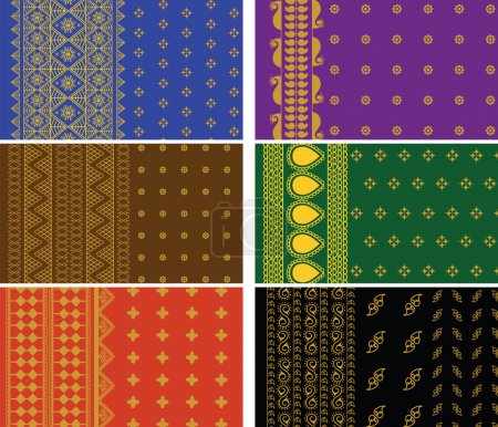 Illustration for Indian Sari Borders, detailed and easily editable. - Royalty Free Image