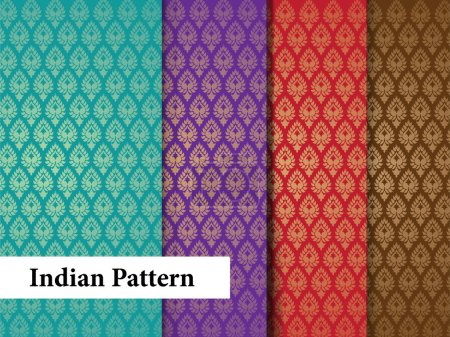 Illustration for Indian Pattern - Textile art inspired Pattern tiles - Royalty Free Image