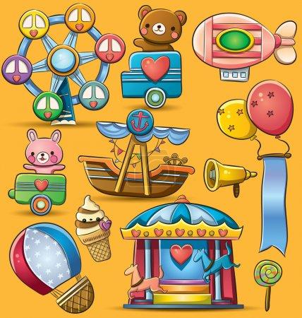 Illustration pour Cartoon illustration d'amusement parc à thème Carnaval - image libre de droit