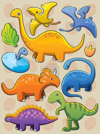 Illustration pour Illustration de dessins animés de divers bébés dinosaures - image libre de droit