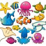 Cartoon illustration of various sea animals collec...
