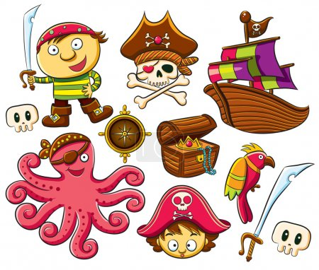 Illustration for Cartoon illustration of funny and cheerful pirate collection set - Royalty Free Image