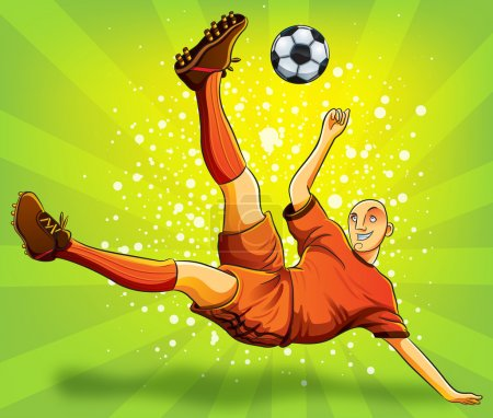 Soccer Player Flying Shooting a Ball