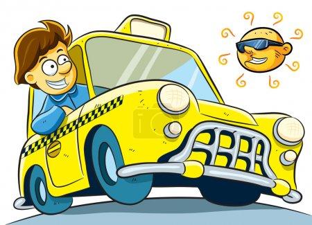 Illustration pour Dessin animé du chauffeur de taxi à la journée ensoleillée - image libre de droit