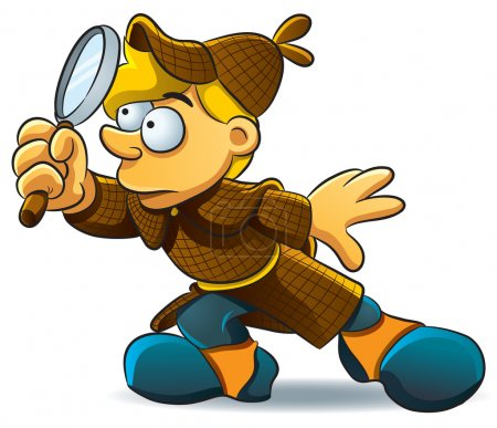 Illustration for Cartoon illustration of young detective investigate a case - Royalty Free Image