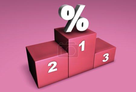 Photo pour 3D podium de position supérieure avec symbole de pourcentage pour concept : champions de rabais ou gagnant en concurrence sur le marché. - image libre de droit