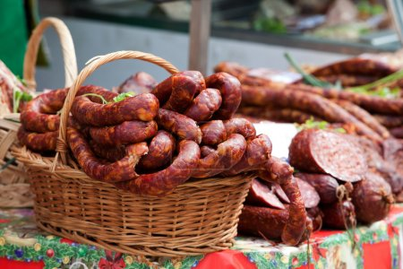 Smoked sausage in a traditional market...
