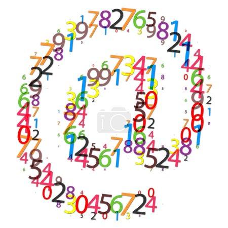 Photo pour Icône e-mail faite de chiffres colorés - image libre de droit