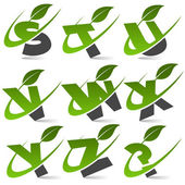 Swoosh Green Alphabet with Leaf Icon Set 3