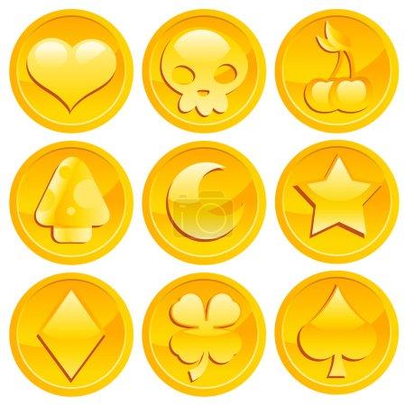 Illustration pour Ensemble vectoriel de pièces d'or de jeu . - image libre de droit