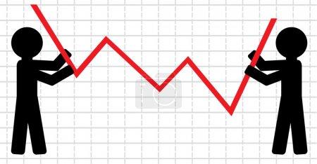 Symbolical image of lifting of economic indicators.