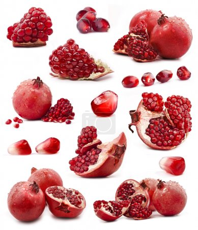 Collection of red pomegranate fruits