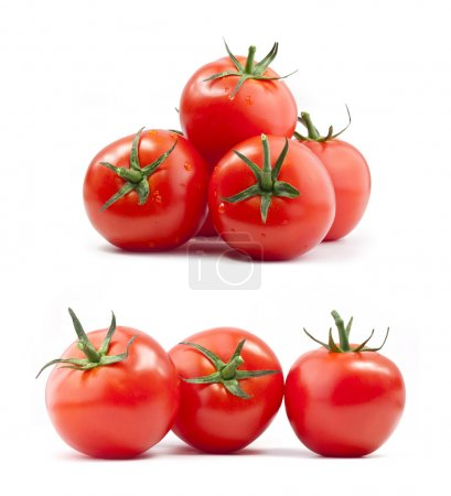 Photo for Collection of tomatoes with a light shadows, isolated on white, with clipping paths - Royalty Free Image
