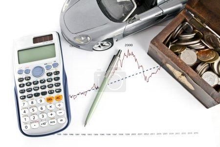 Car, Calculator, Pen and Treasure box