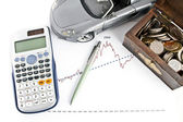 Auto, kalkulačka, pera a poklad box