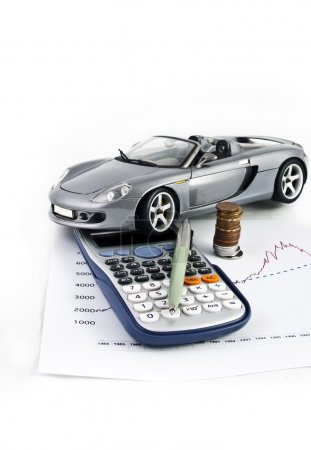 Car, Calculator, Money and Pen
