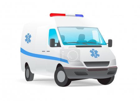 Illustration for Ambulance van with caduceus sign. Contains some transparencies, eps10 format. - Royalty Free Image