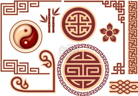 Illustration for Set of Chinese Oriental Design Elements Vector Format - Royalty Free Image