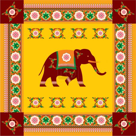 Vector Indian (Hindu) Elephant with Traditional Pattern Border
