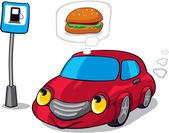 Kreslená auta snění Burger vedle palivové stanice znamení
