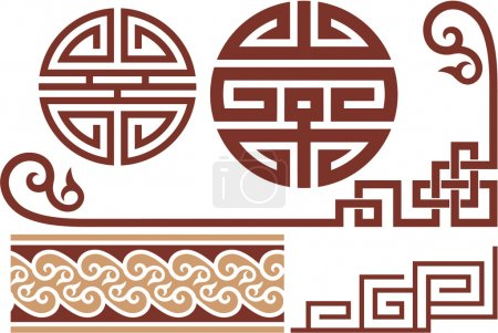 Set of Oriental Chinese Design Elements (Seamless Border, Corners, Knots, F