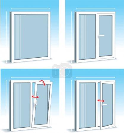 Illustration for Set of Plastic - PVC - Windows Types - Royalty Free Image