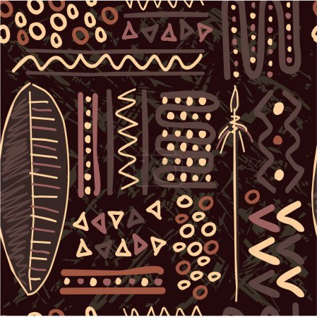 Illustration for Vector African Seamless Pattern (Background, Wallpaper, Texture, Tile) - Royalty Free Image