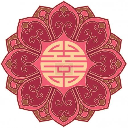 Vector Oriental Flower Pattern