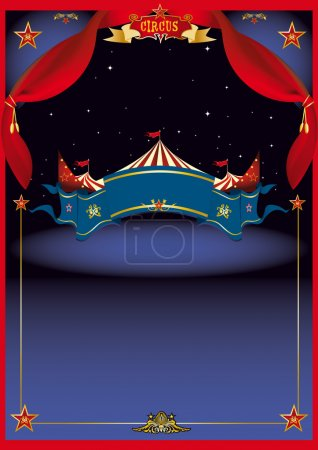 Illustration for A circus poster for you with a star field for your advertising - Royalty Free Image