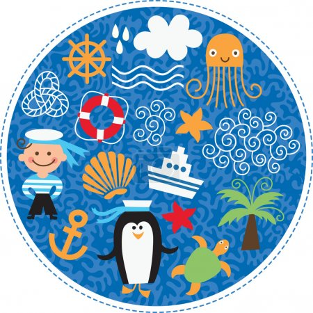 Set of cartoons cute sea elements in a round