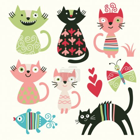 Set of cartoon cute cats