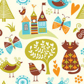 Seamless pattern with cartoon animals and fairy-tale elements
