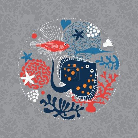 Illustration for Fishes, marine life - Royalty Free Image