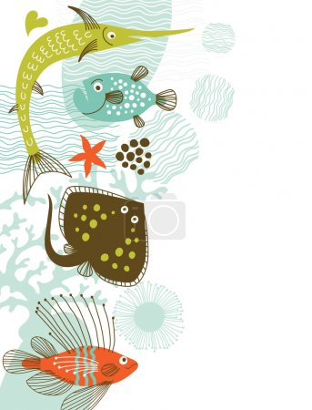 Fishes, marine life, vertical banner