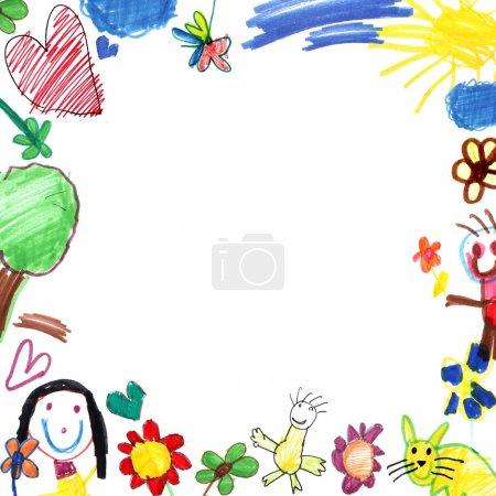 Photo pour Enfant dessin trame isolé sur blanc - image libre de droit