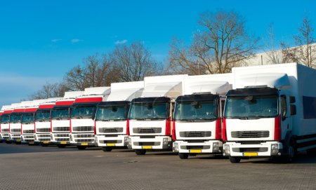 Photo for Several trucks parked in a perfect row - Royalty Free Image