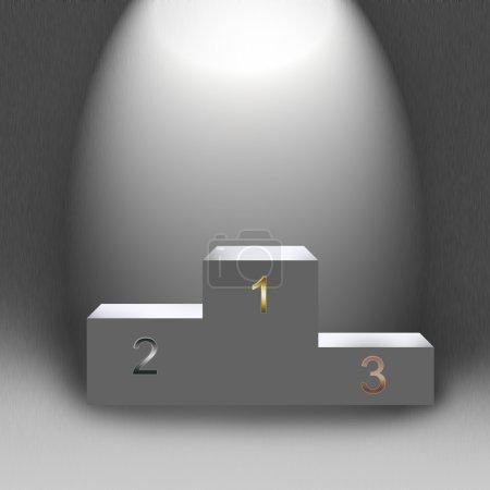 3d empty podium in light illustration to design