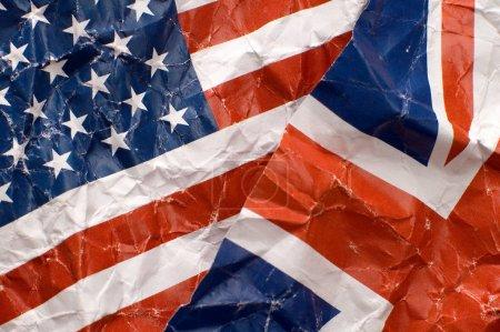 Photo pour Royaume-Uni et États-Unis d'Amérique drapeaux détail photo - image libre de droit