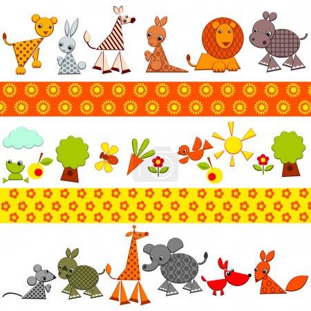 Illustration pour Fond d'animaux. ensemble d'animaux colorés lumineux. illustration vectorielle. - image libre de droit